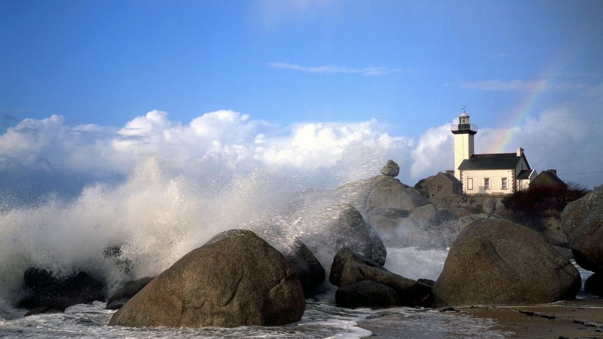 world architecture buildings lighthouse structures light lamp glass window nature beaches ocean sea waves spray drops sky clouds rocks shore coast wallpaper