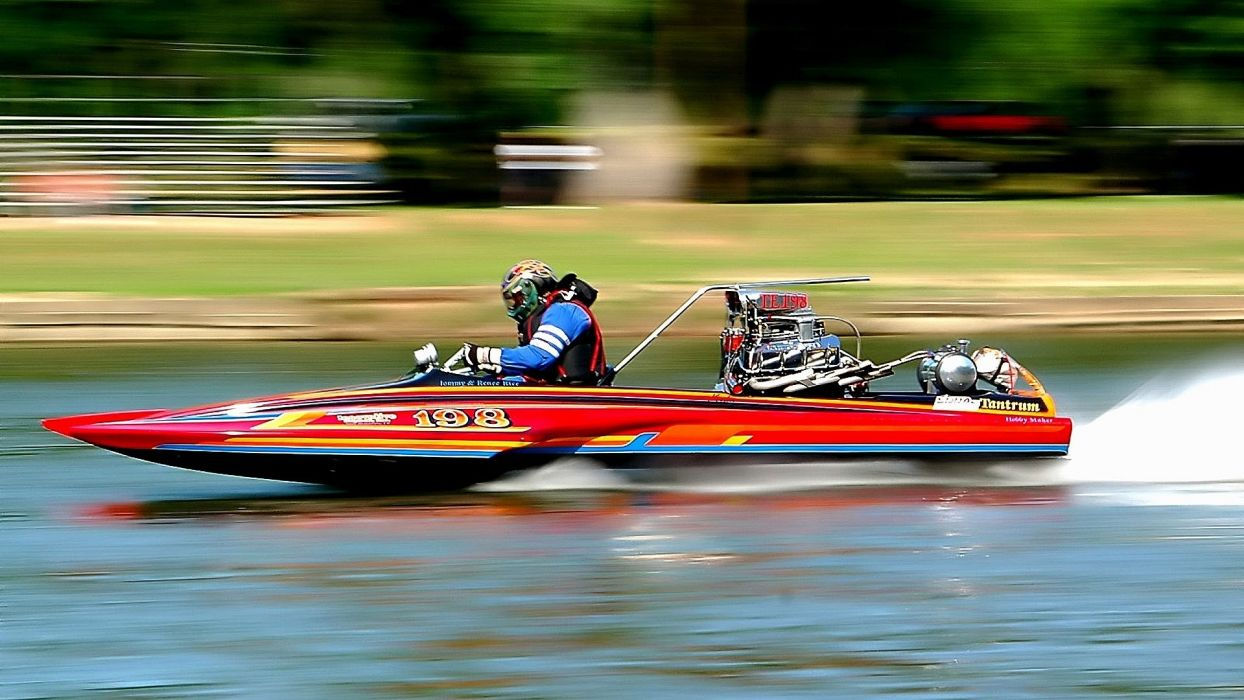 vehicles watercrafts boats ships spray tail color speed motion people uniform race racing engine chrome blower blown muscle hot rod lakes park shore grass wallpaper