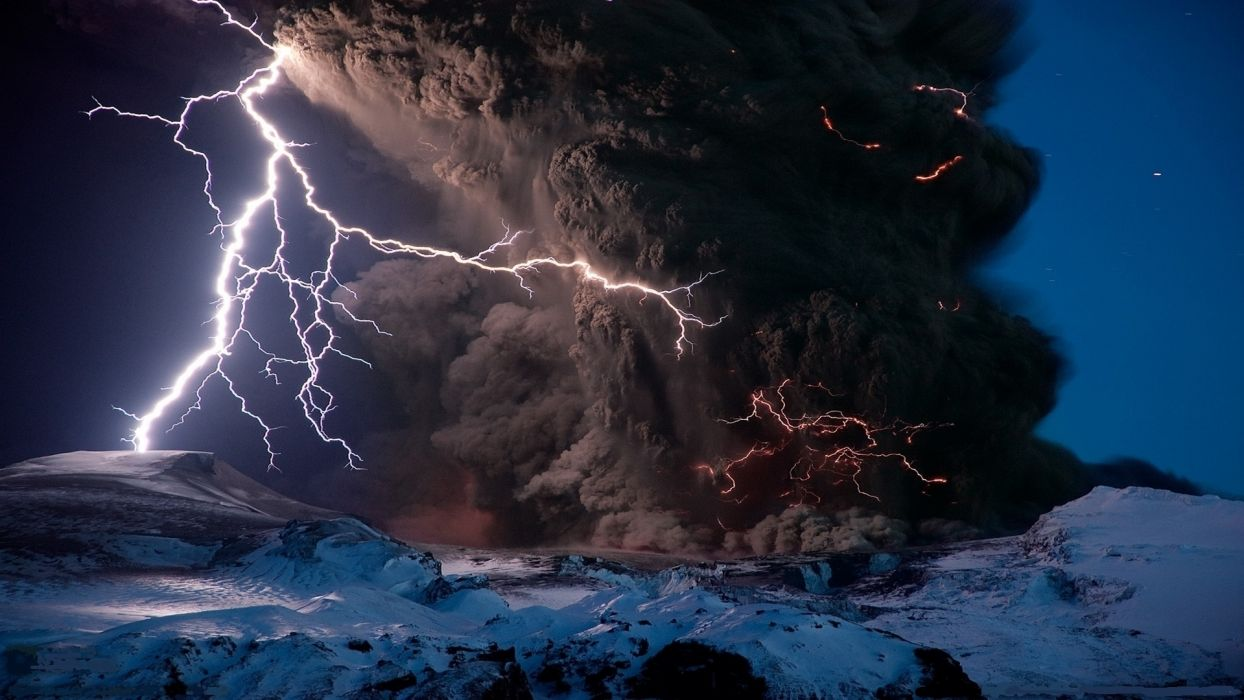 nature landscapes mountains volcano smoke explosion lightning snow fire flames night stars wallpaper