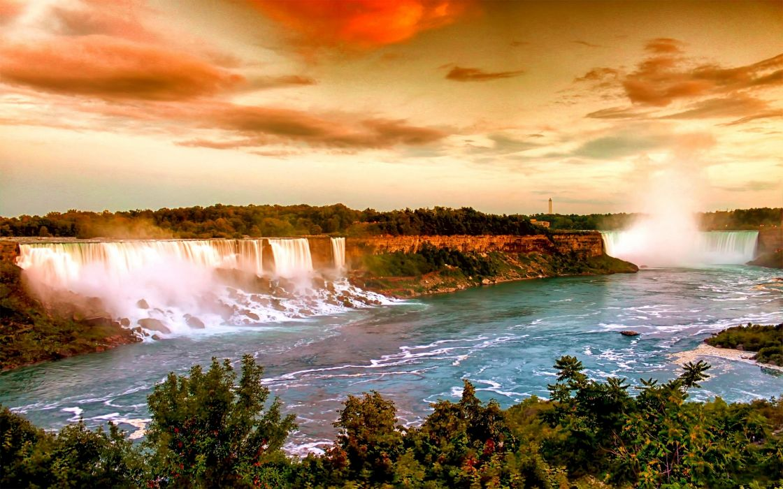 nature landscapes waterfall trees rivers spray fog mist water cliff sky clouds sunset sunrise color scenic view wallpaper