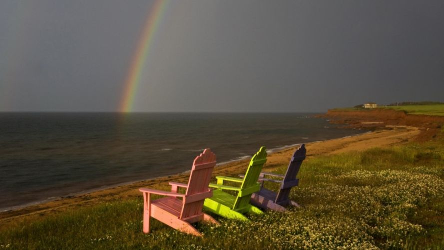 nature landscapes nature beaches ocean sea lakes water storm rain rainbow color chairs bokekscenic view grass scenic wallpaper