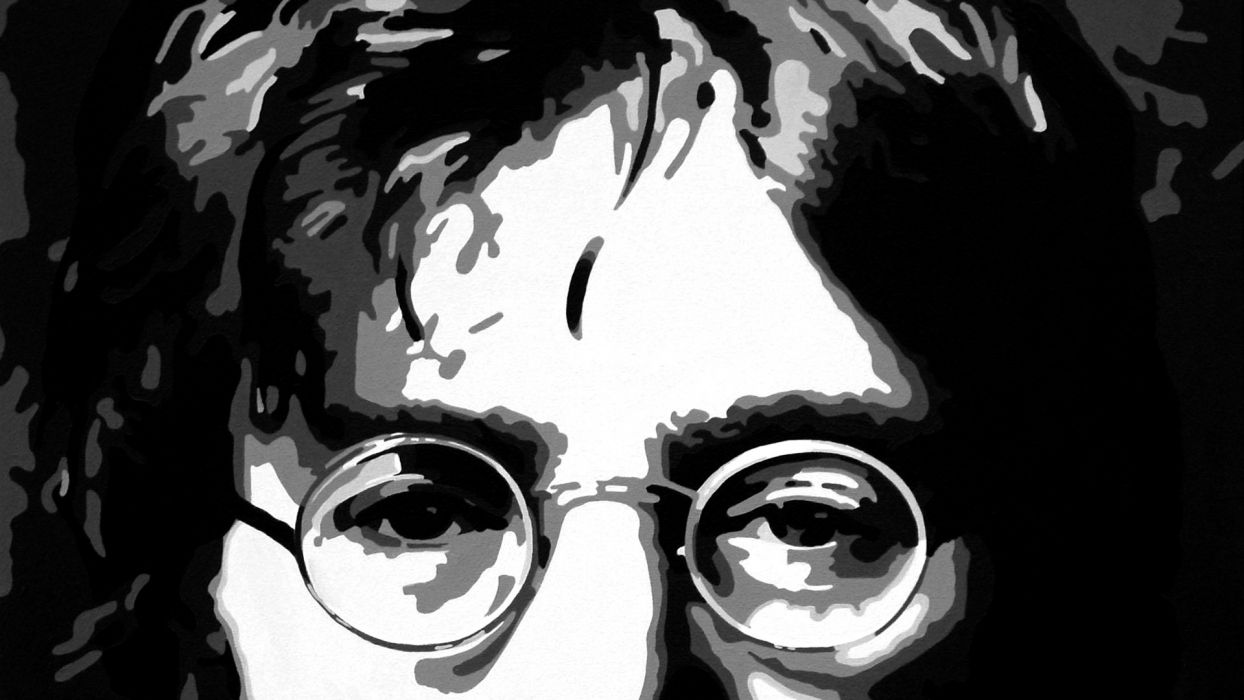 beatles john lennon vector abstract groups bands glasses classic face eyes people wallpaper