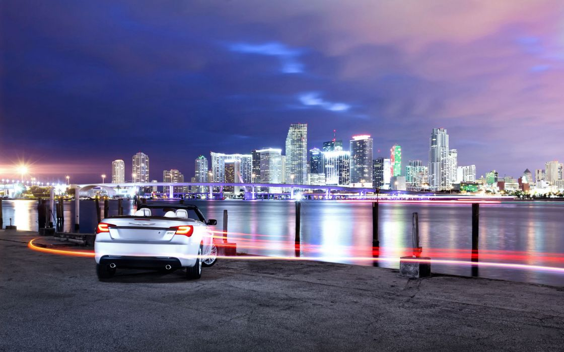vehicles cars auto chrysler 200 timelapse lapse lights streak motion roads water harbor world bay ocean sea lakes cities architecture buildings skyscrapers night sky clouds scenic bright color wallpaper