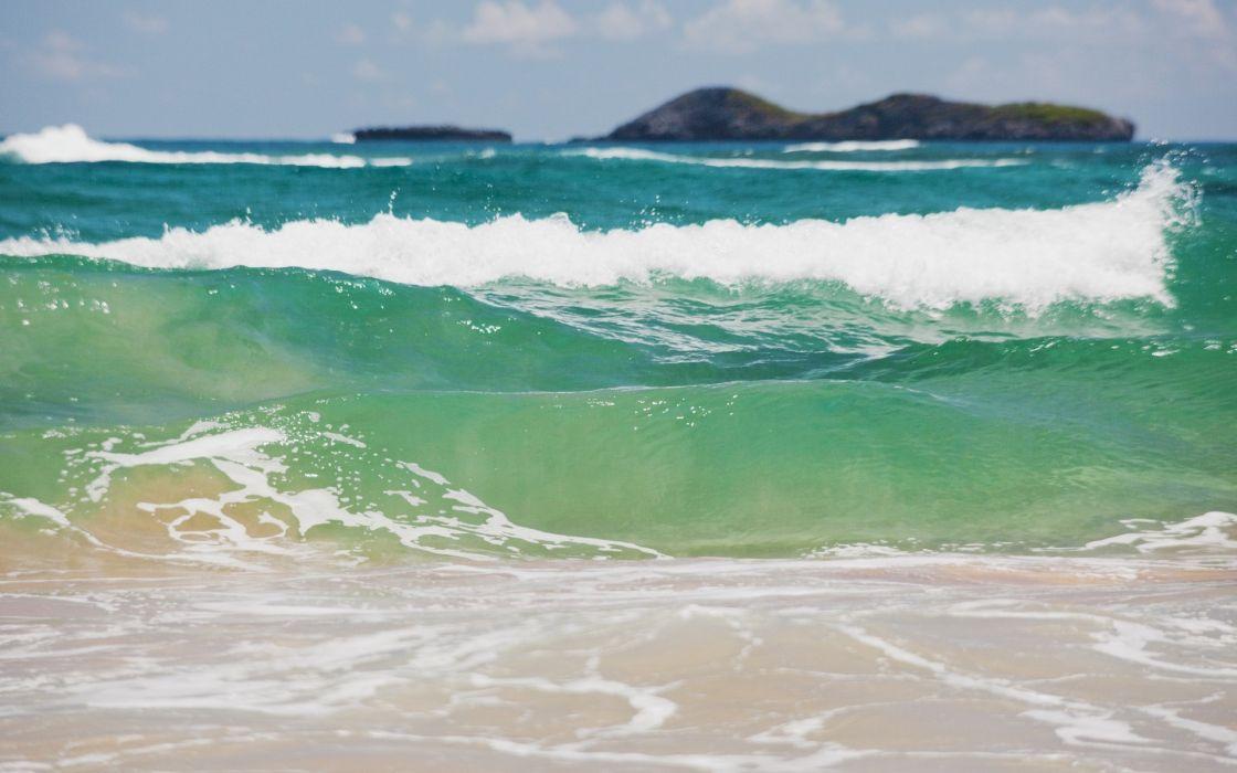 nature beaches islands sand surf waves ocean sea tropical sky clouds wallpaper