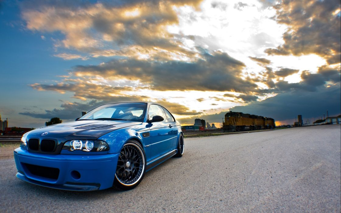 BMW vehicles cars auto tuning stance blue locomotive engine trains railroad wallpaper