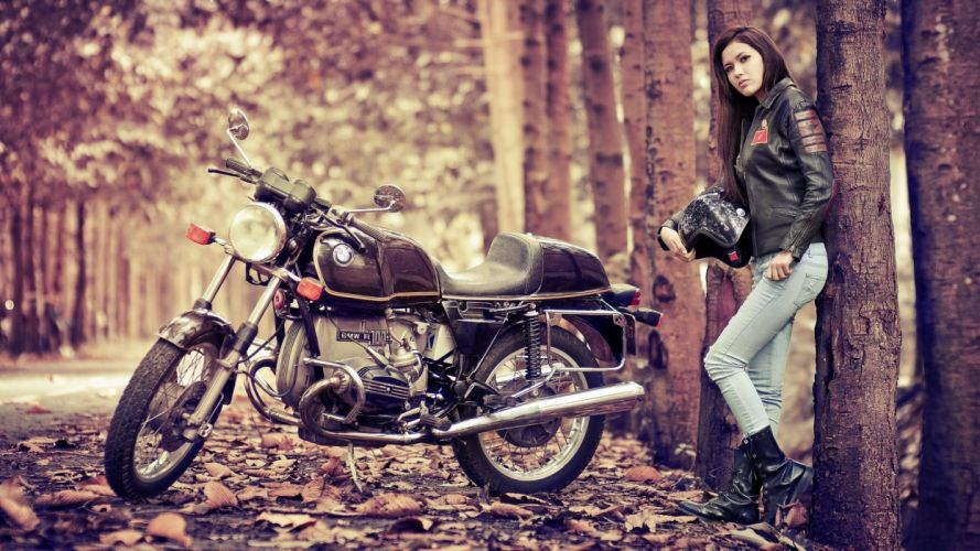 vehicles motorcycles bikes roads autumn fall leaves women females girls models brunttes wallpaper