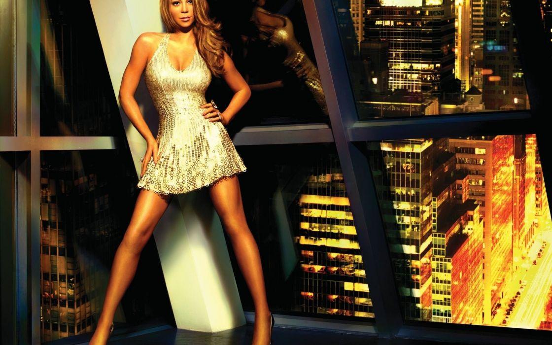 Mariah Carey brunette music singer musician women females girls babes sexy sensual legs cities window glass wallpaper