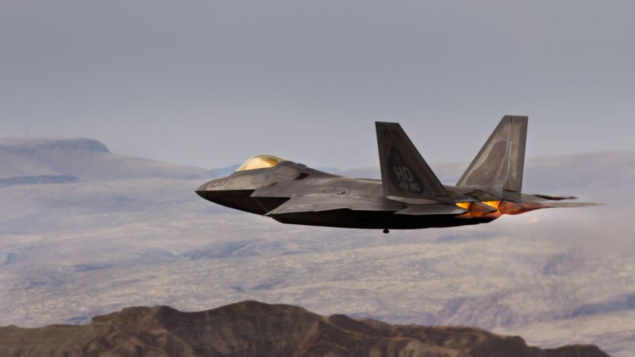 F-22 vehicles aircraft airplane plane weapon military air force flight mountains landscape wallpaper