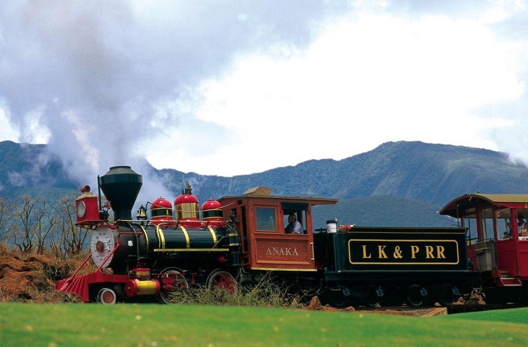 vehicles trains engine locomotive railroad tracks cars steam color wallpaper