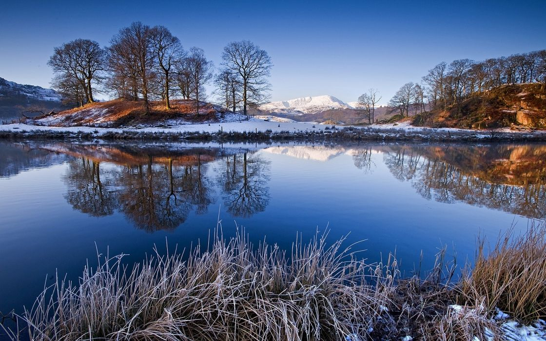 nature lakes pond water reflection shore trees winter snow sky mountains plants frost wallpaper
