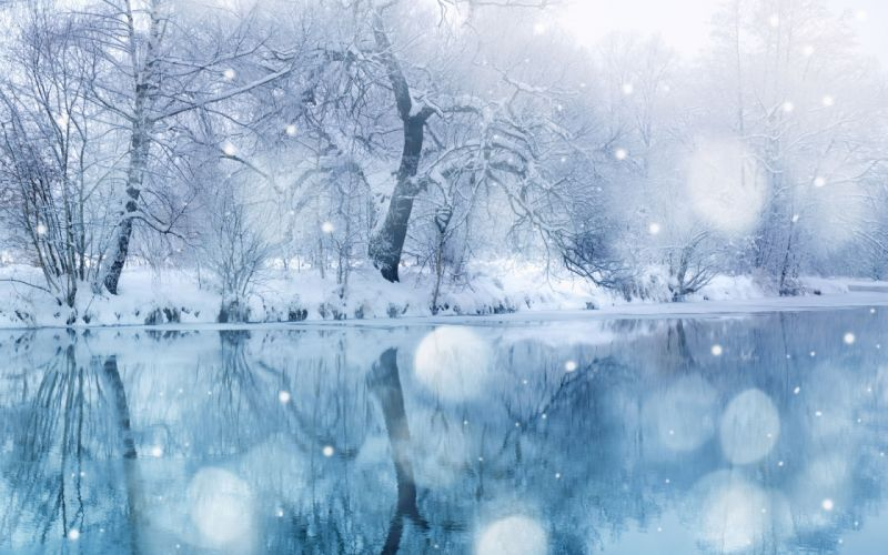 nature landscapes lakes rivers water reflection trees forest shore winter snow snowing flakes drops wallpaper