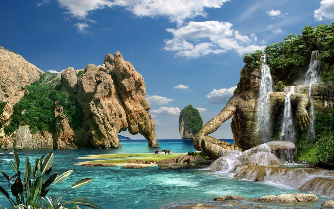 photography manipulation cg digital art fantasy tropical waterfall nature resort landscapes beaches animals horses cliff stone rock lagoon water ocean sea sky clouds statue jungle trees wallpaper