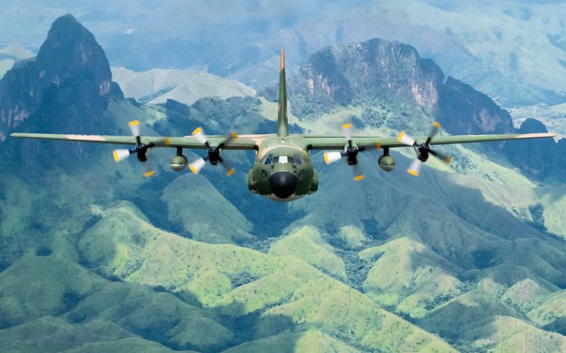 C-130h military transpo wings mountains landscapes airplane plane wallpaper