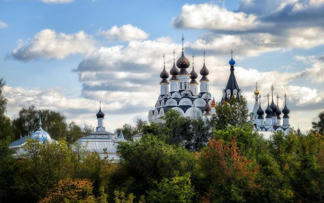Annunciation and Trinity Monastery cathedral church religion spires sky clouds buildings trees autumn fall wallpaper