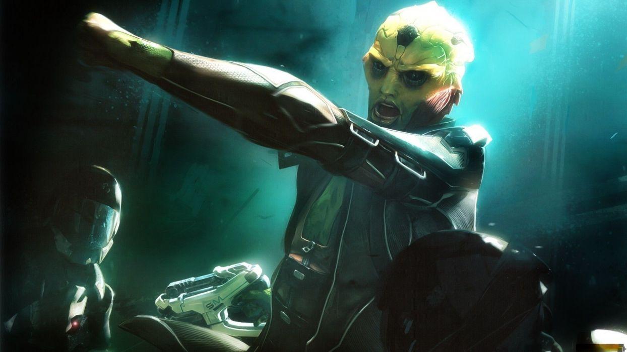 Mass effect sci fi science fiction futuristic warrior weapons guns cyborg dark battle wallpaper