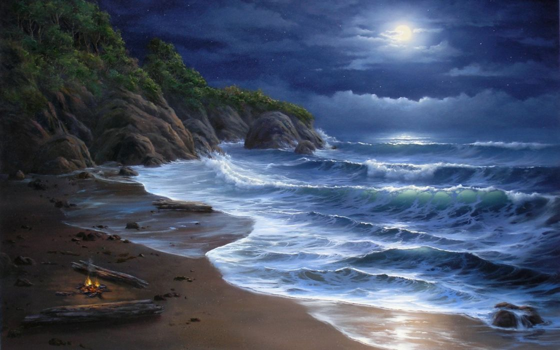 nature beaches landscapes waves ocean sea seascape cliff trees tropical sky clouds moon moonlight art artistic paintings wallpaper