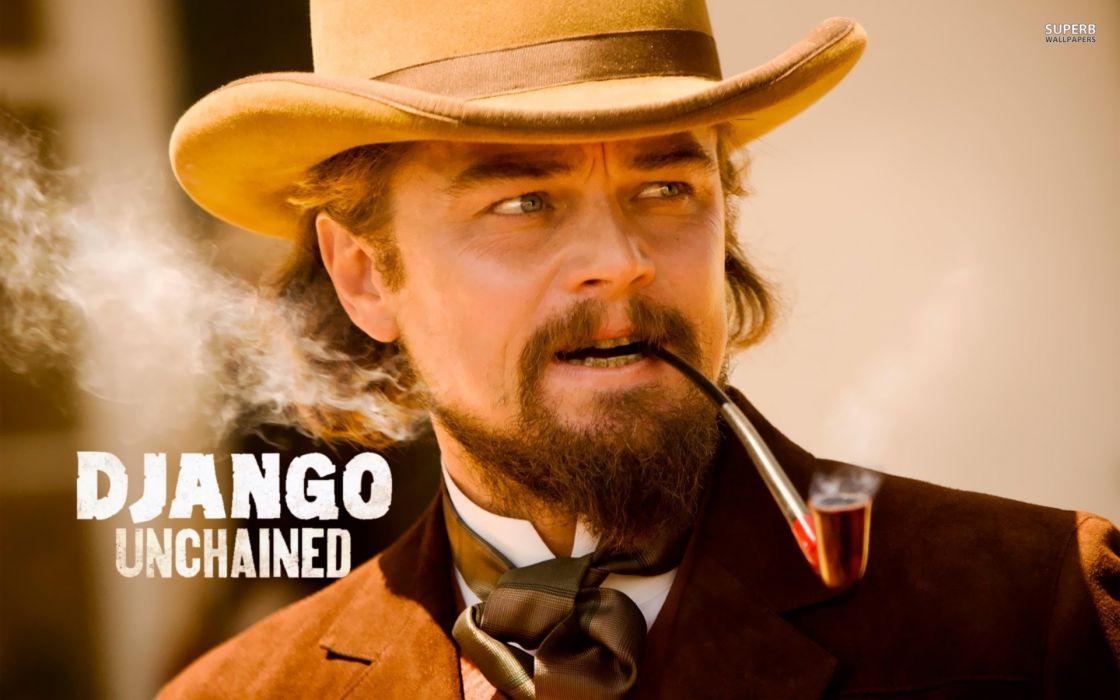 Django Unchained Leonardo DiCaprio Calvin Candie Quentin Tarantino western movies actors males men smoke face hat wallpaper