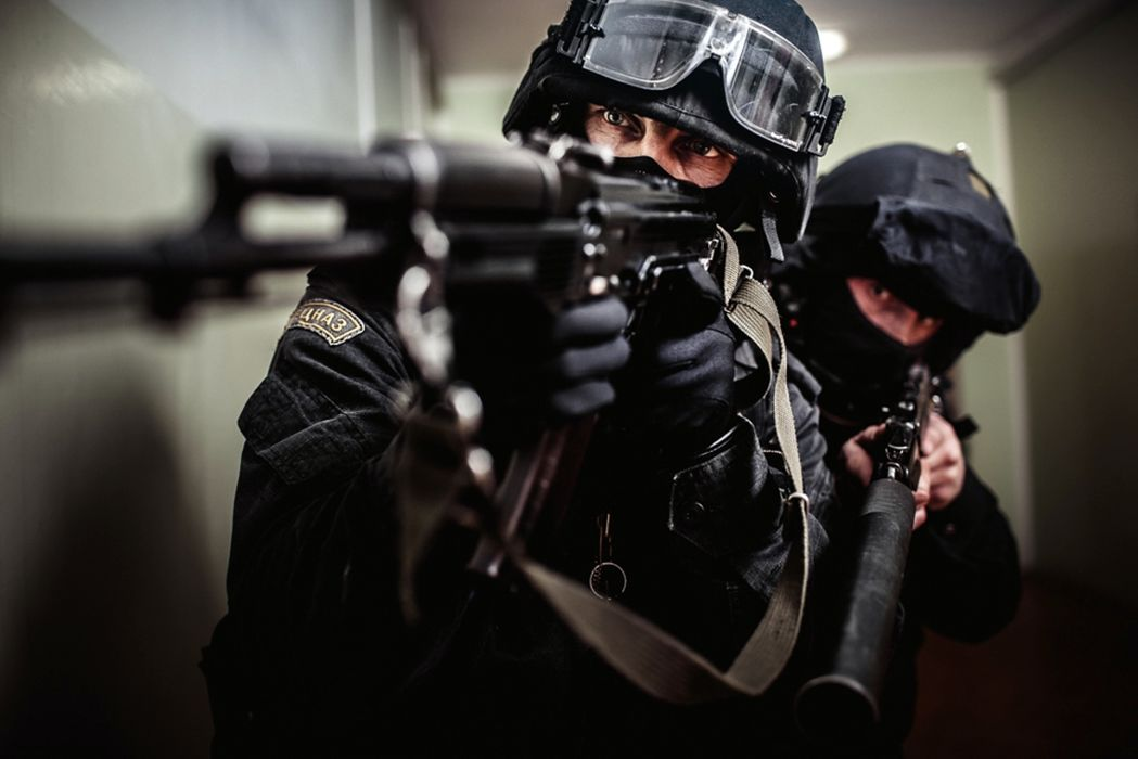 SWAT AK-47 AS Val military police people men males warriors soldiers weapons guns rifles goggles glasses eyes wallpaper