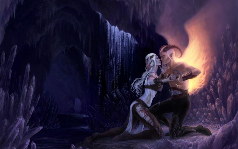 fantasy demon hell caves landscapes waterfall crystal love romance emotion good evil fire flames mountains cliff art rivers women females girls babes blondes legs dark blood sad sorrow elf wallpaper