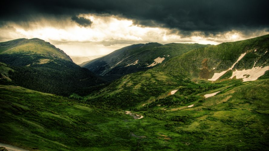nature landscapes mountains trees forest green sky clouds rain storm sunlight light drops wallpaper