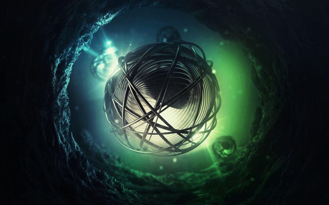 abstract cg digital art 3d sci fi science fiction underwater water lights psychedelic dark wallpaper