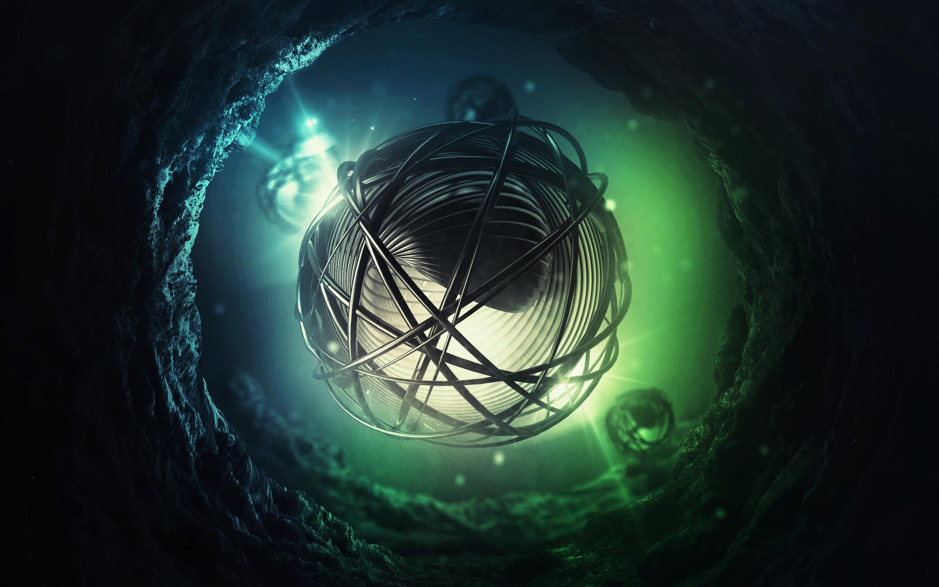 Abstract Cg Digital Art 3d Sci Fi Science Fiction Underwater Water Lights Psychedelic Dark