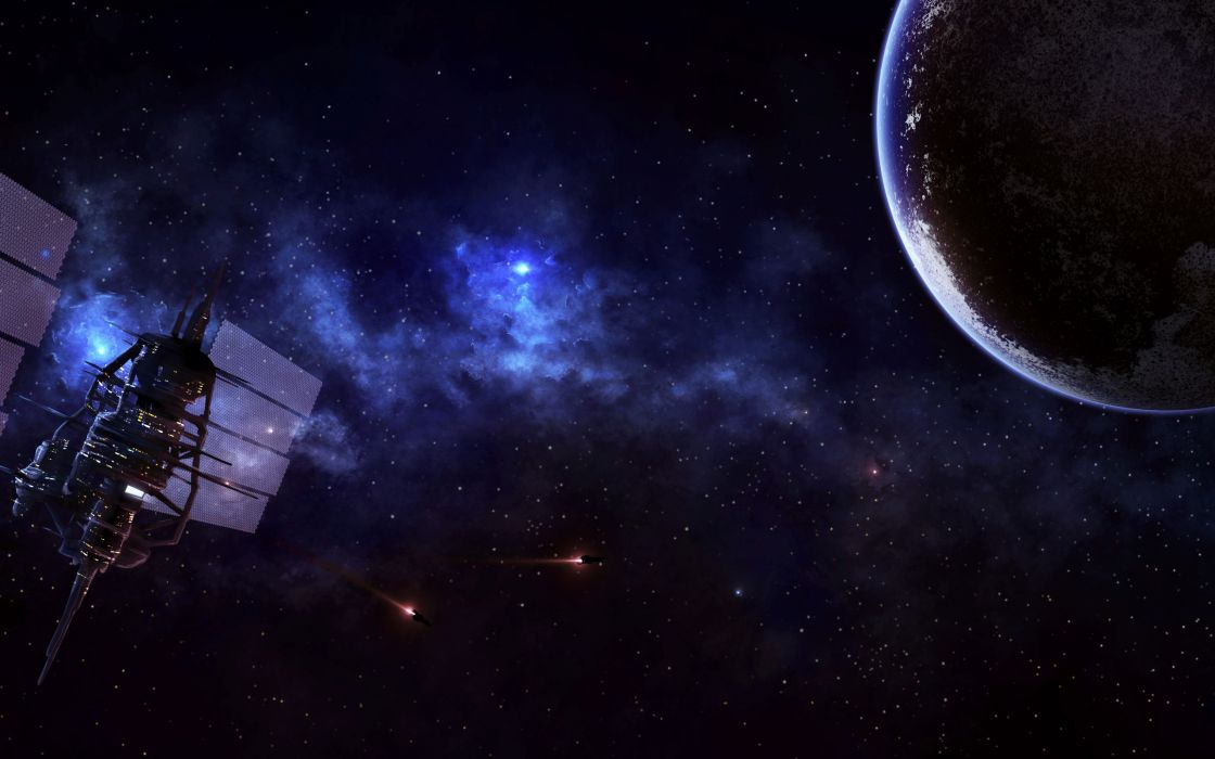 sci fi science fiction cg digital art space universe planets stars spaceship spacecraft satellite moon lights station cities structure architecture wallpaper