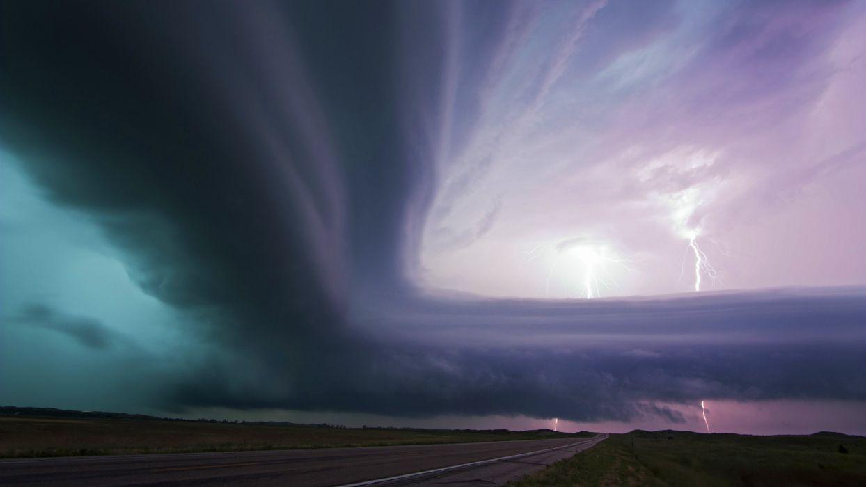 world roads nature landscapes fields sky storm lightning rain downpour dark weather drops bright electric wallpaper