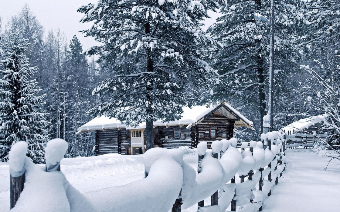world architecture buildings houses cabin fence roads path trail nature landscapes trees forest winter snow seasons white bright wallpaper
