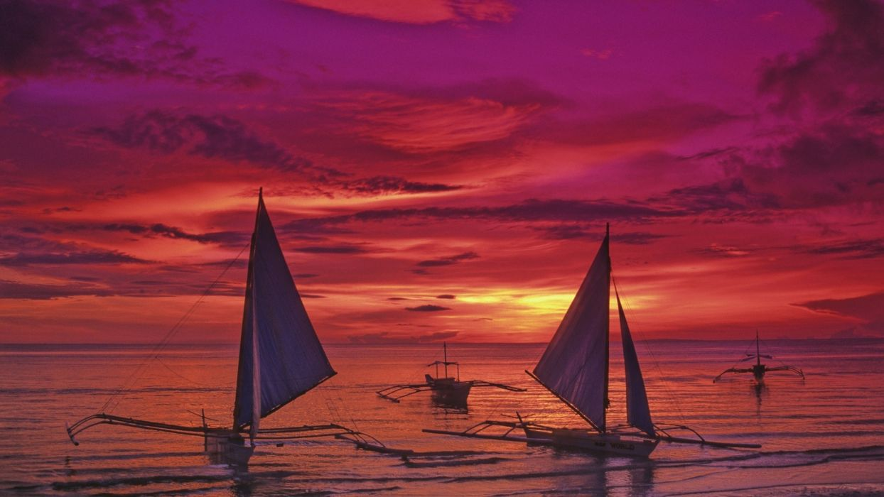 philippines vehicles watercrafts boats ships sailboat sail nature beaches ocean sea sky clouds sunrise sunset color wallpaper