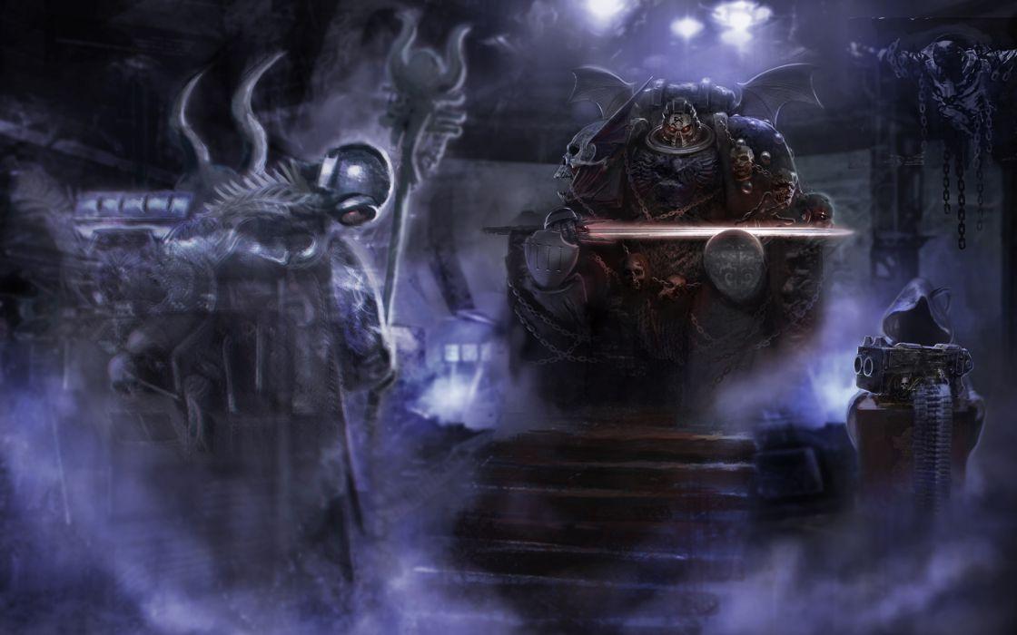 Warhammer 40k Space Marines sci fi science fiction futuristic 3d warrior weapons sword magic dark ghost spirits creepy spooky wallpaper