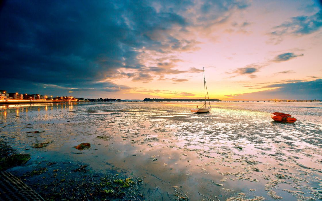 nature beaches ocean sea harbor bay sound water reflection sky clouds sunset sunrise tide shore architecture buildings islands wallpaper
