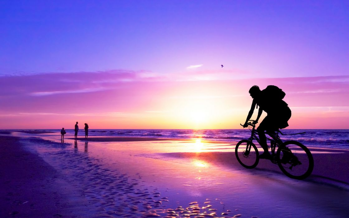 vehicles bicycles bikes sports people nature ocean sea seascape waves beaches path trail sidewalk boardwalk sky clouds sunset sunrise color wallpaper