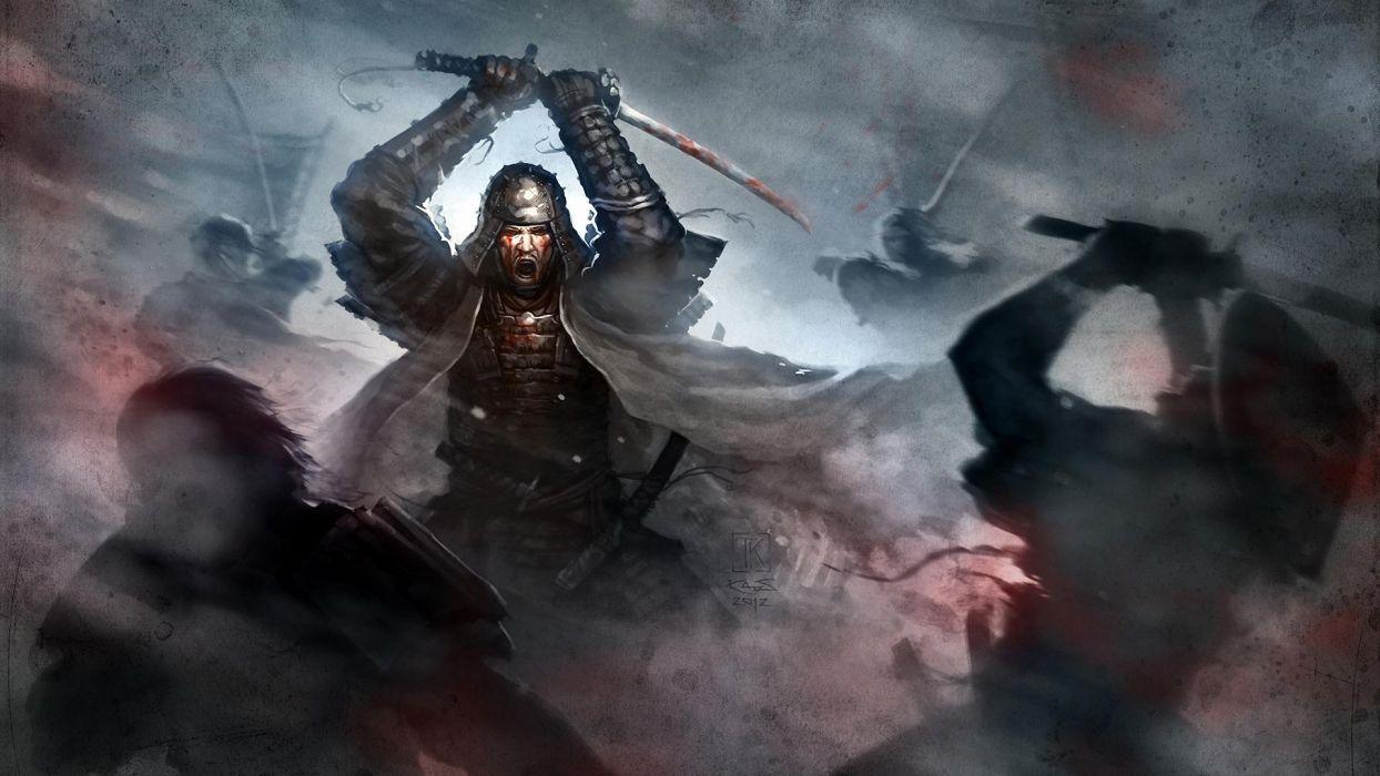 Art samurai fight sword katana armor blood rage asian oriental sword battle war fantasy dark  wallpaper