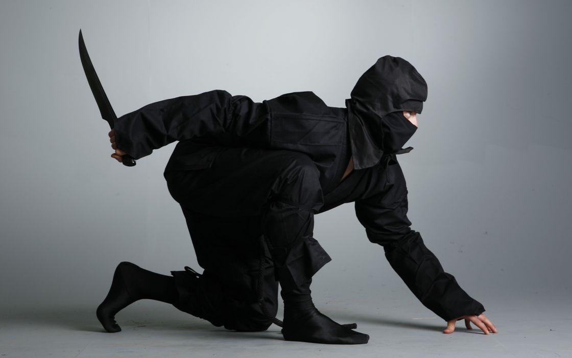 ninja black suit shinobi dagger knife asian oriental martial arts camo wallpaper