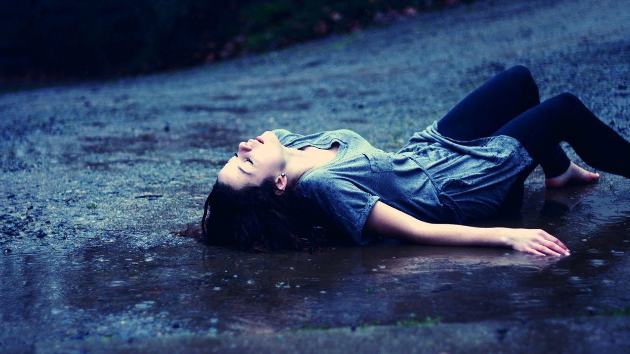 mood emotion women females girls brunette sad sorrow nature roads rain storm wet drops wallpaper