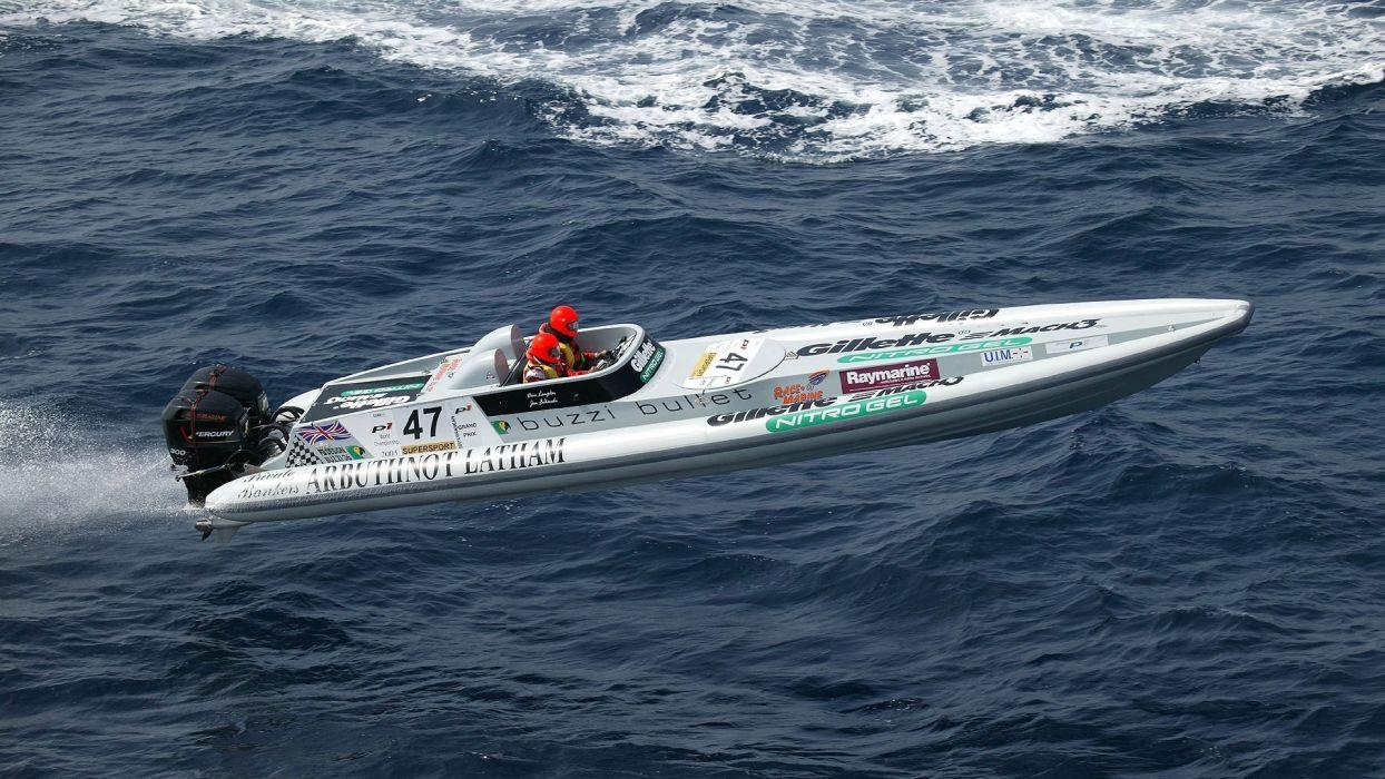 POWERBOATS bullet vehicles boats ships racing race flight fly people engines ocean sea water spray drops wallpaper
