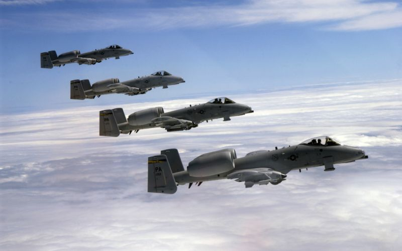 Fairchild Republic A-10 Thunderbolt II Air Force air support military aircraft airplanes plane flight sky clouds vehicles jet fighter weapon cannon guns wallpaper