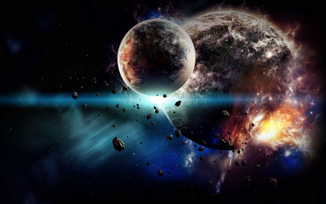 sci fi science fiction space universe planets stars fire flames explosion apocalyptic color wallpaper