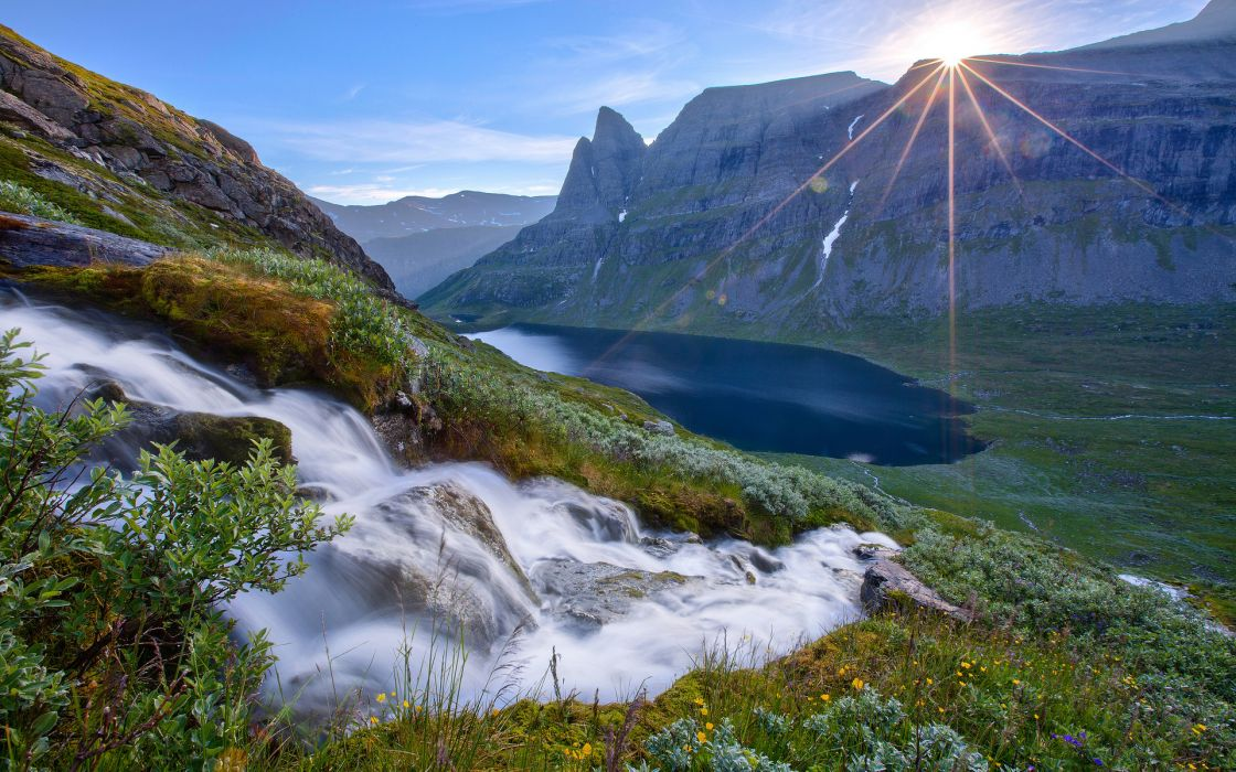 nature landscapes waterfall rivers stream water hill mountains lakes valley mountains sunrise sunset sky clouds scenic view reflection wallpaper