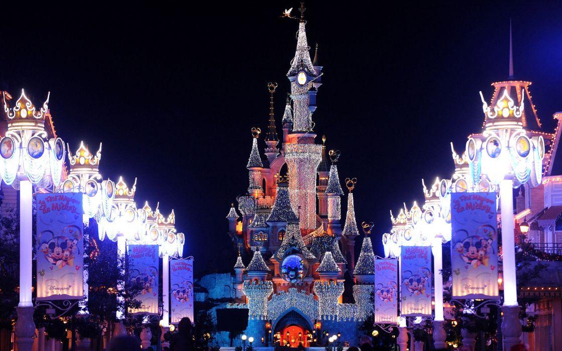 paris castle new year france architecture buildings celebration festive lights bright disney wallpaper