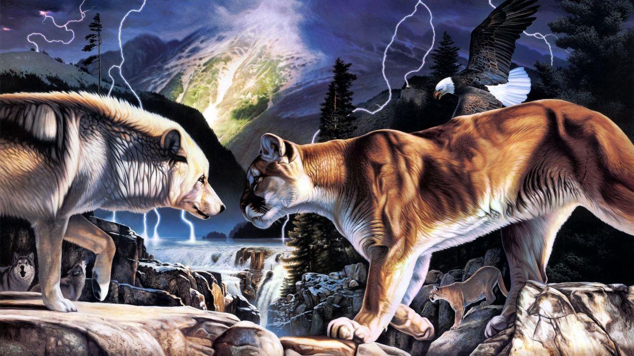 daniel renn pierce nature art artistic paintings color detail animals predator wildlife wolf wolves cougar mountain lion lightning storm rivers waterfall wallpaper