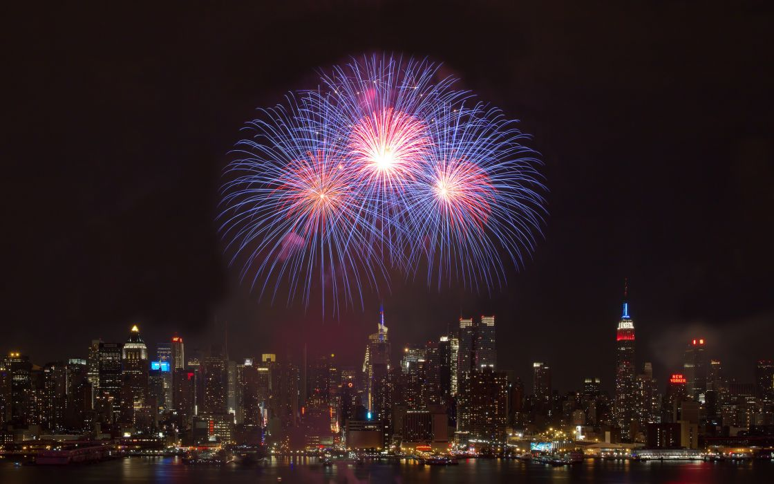4th of July new year fireworks sparkle world architecture buildings skyscraper skyline cityscape night lights sign neon new york wallpaper