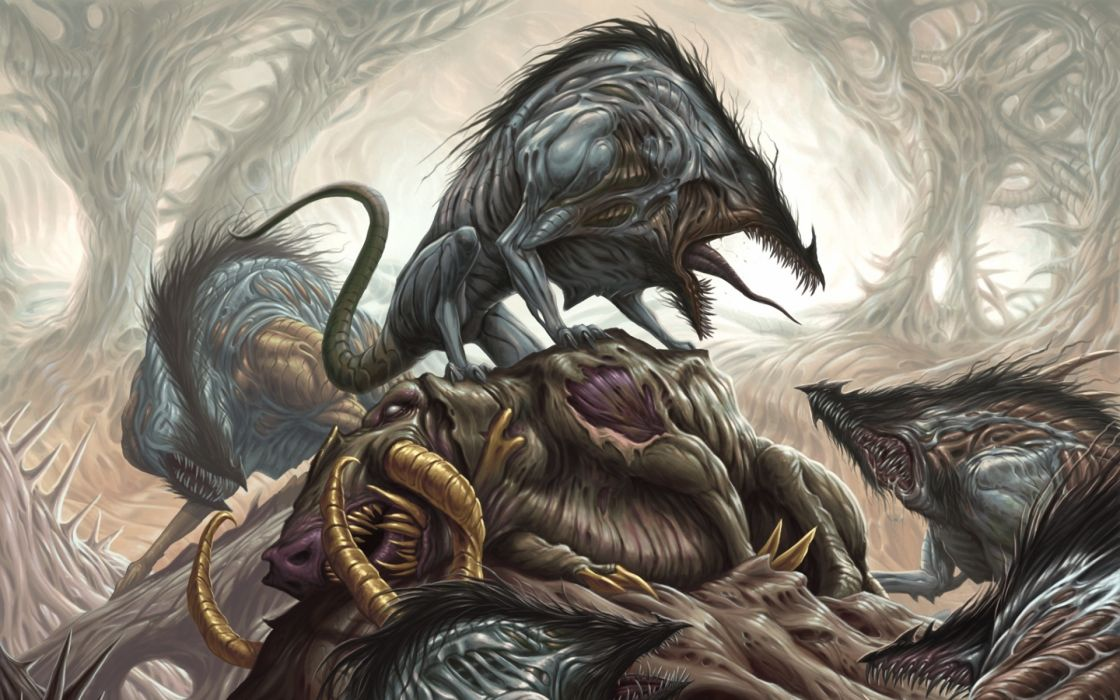 magic the gathering fantasy monster creature dark battle trees forest scary creepy spooky art wallpaper