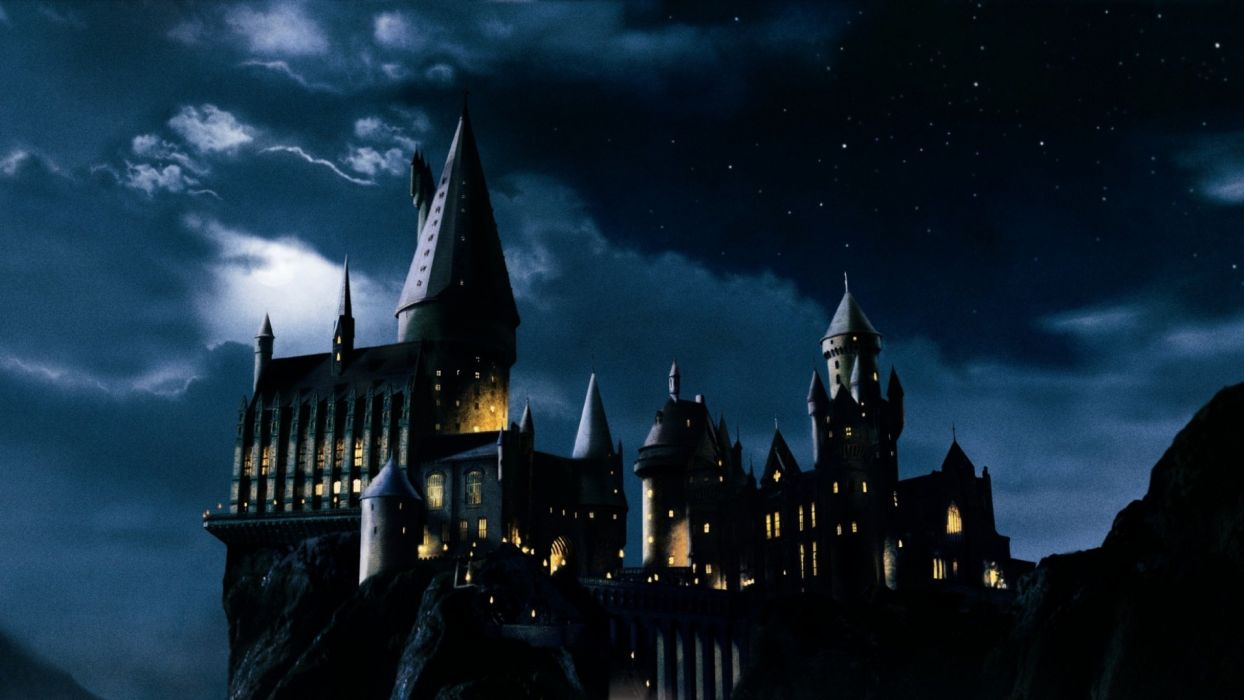 Harry Potter And The Sorcerer's Stone hogwarts castle college school witch night clouds fantasy artistic window lighhts dark spooky architecture buildings wallpaper