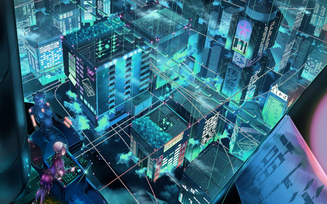 Cityscapes Robots Fantasy Art Science Fiction original architecture buildings art color cyber tech wallpaper