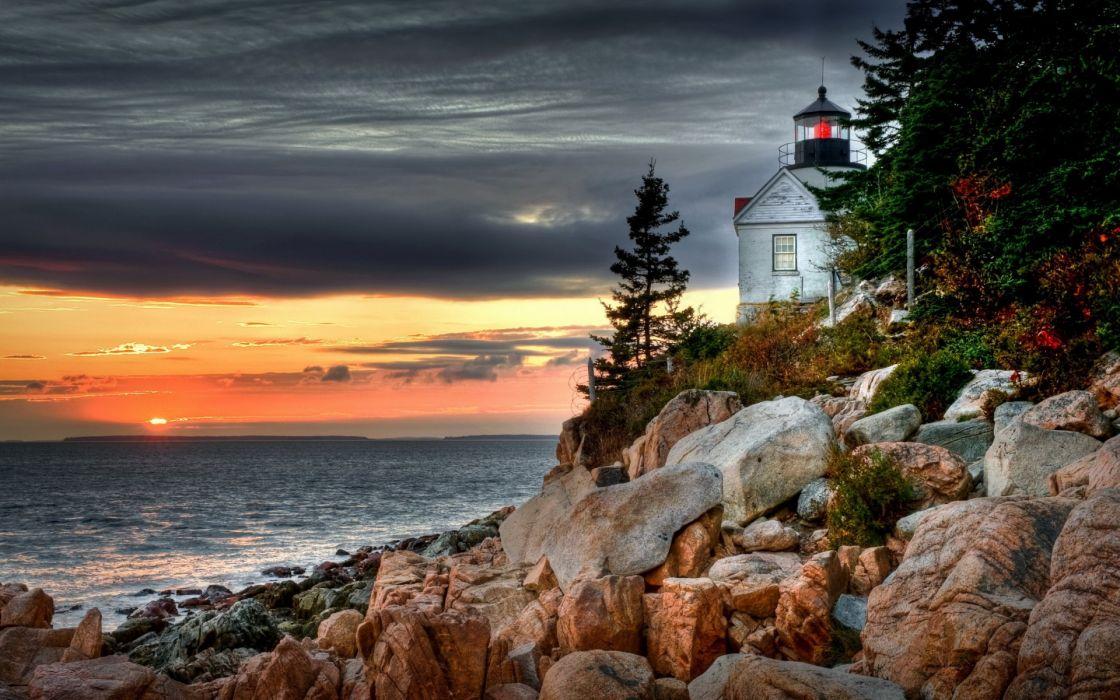 world architecture buildings lighthouse light lamp nature beaches shore coast rock stone sea ocean seascape scape sky clouds sunset sunrise wallpaper