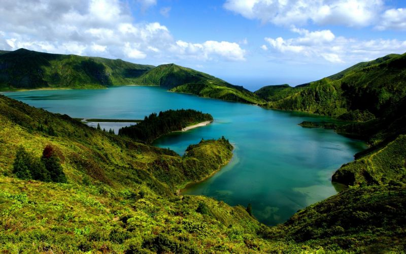 nature landscapes lakes mountains green water sky clouds wallpaper