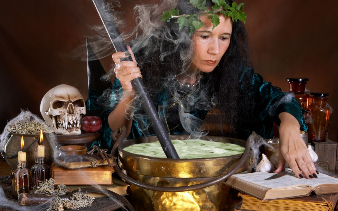 dark occult witch skull halloween cauldron spell candles fire flame steam smoke wallpaper