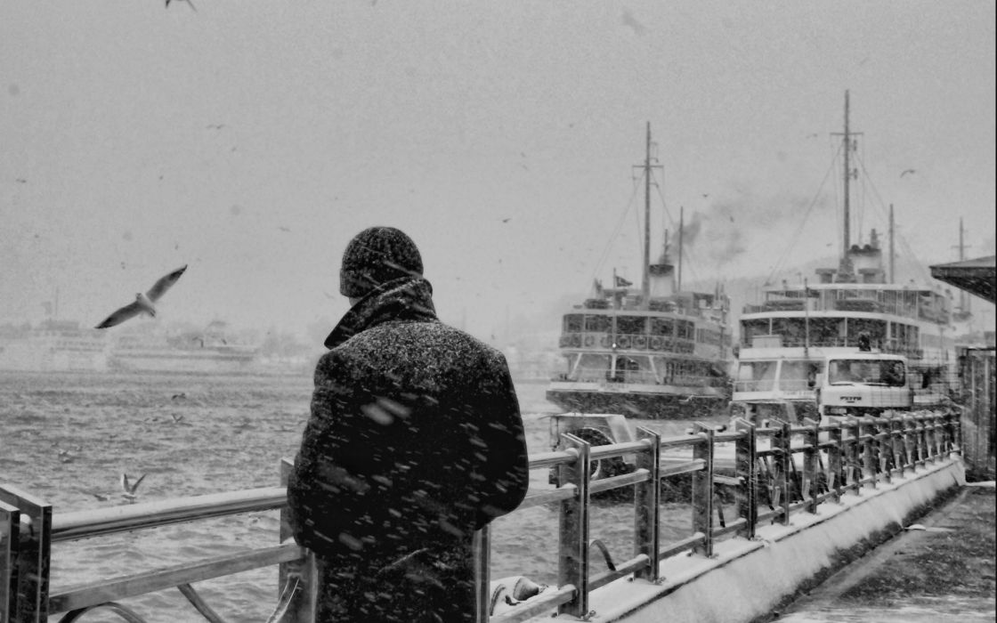 black white men males mood dock pier architecture winter snow seasons storms snowing flakes drops harbor marina alone emotion animals birds gulls vehicles boats ship wallpaper